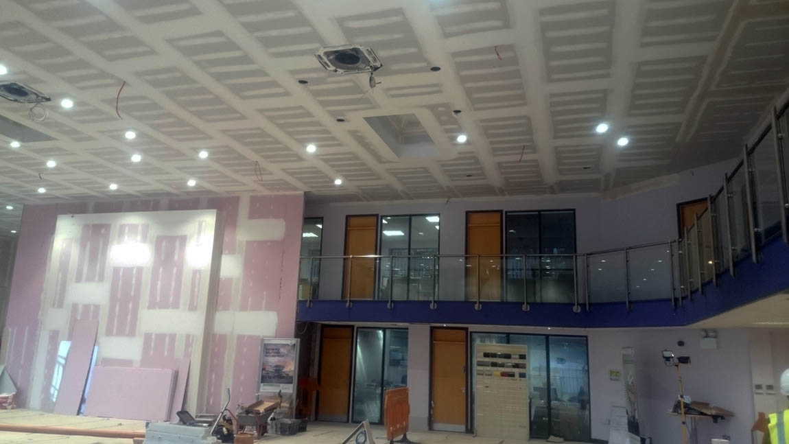 Suspended Ceiling Installed At A Showroom Garage In Cork
